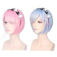 35CM Ram Rem Cosplay Wigs Short Heat Resistant Bob Hair Re Zero Kara Hajimeru Isekai Seikatsu