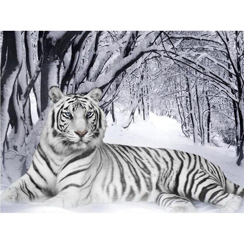 Nouveau 5D BRICOLAGE Diamant Broderie neige blanc tigre Diamant Peinture Point De Croix Carré plein/Ronde Strass Mosaïque décor à la maison H140