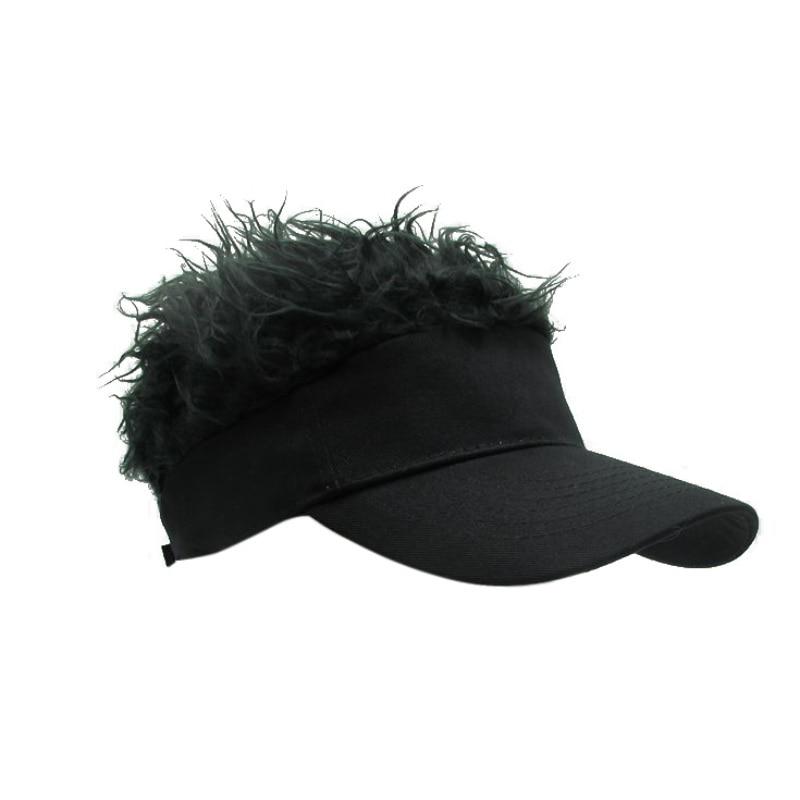 Hot  New Novelty Fake Flair Hair Sun Visor Hats Men Women Toupee Wig Funny Hair Loss Cool Gifts Tennis cap figurine