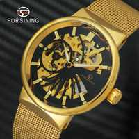 FORSINING Top marque de luxe hommes montre mécanique squelette cadran doré Royal mode mince unisexe maille petite taille de poignet montres