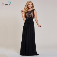 Dressv Black Evening Dress Cheap Sleeveless A Line Scoop Neck Zipper Up Sleeveless Wedding Party Formal