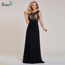Dressv hitam evening dress murah tanpa lengan sebuah line scoop neck zipper up tanpa lengan wedding party formal evening dresses(China)