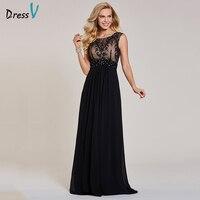 Dressv Black Evening Dress Cheap Sleeveless A Line Scoop Neck Zipper Up Sleeveless Wedding Party Formal
