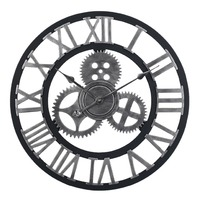 60cm Large Circular Wall Clock Retro Gear Rome Style Quarz Silent Hanging Needle Clock For Home Living Room Decor 2 Colors