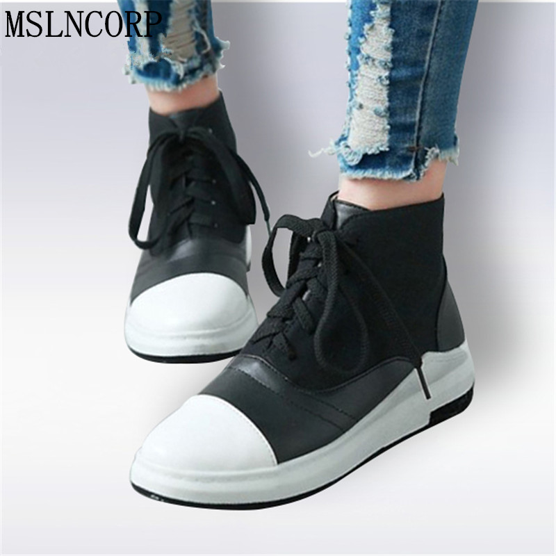 Plus Size 34-43 New Women Flats Lace-Up Women Spring Autumn Shoes Botas Feminina Female Motorcycle Ankle Fashion Boots For mujer e toy word fashion ankle boots women spring autumn shoes women lace up solid boots female height increasing platform botas mujer