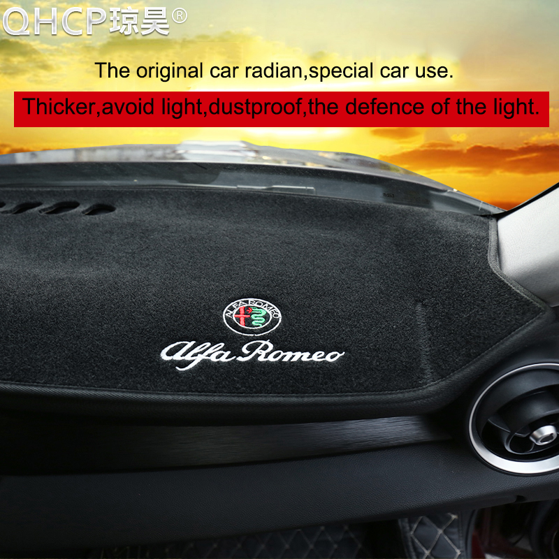 QHCP tapis de tableau de bord tapis de bord housse de tableau de bord pare-soleil housse de tableau de bord tapis de Protection pour Alfa Romeo Giulia/Stelvio - 4