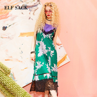 ELF SACK New Summer Fashion Women Chiffon Dress A line Floral Print Short Sleeve V neck Formal Retro Slim Female Dresses bottom