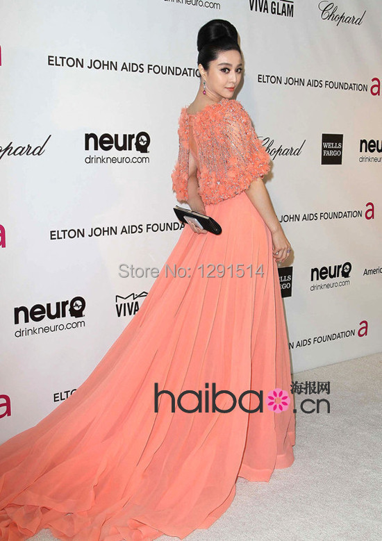 Aliexpress.com : Buy Coral Red Carpet Dress Celebrity Wallace 2014 ...
