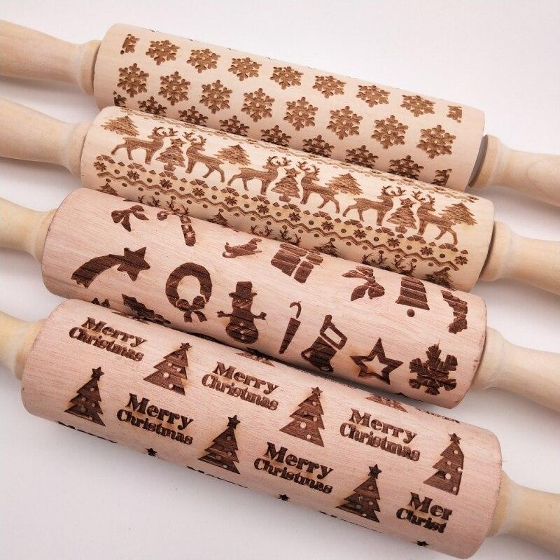 Venta caliente DIY de Navidad en relieve rodillo para hornear galletas Fondant pastel masa rodillo grabado Reno copo de nieve