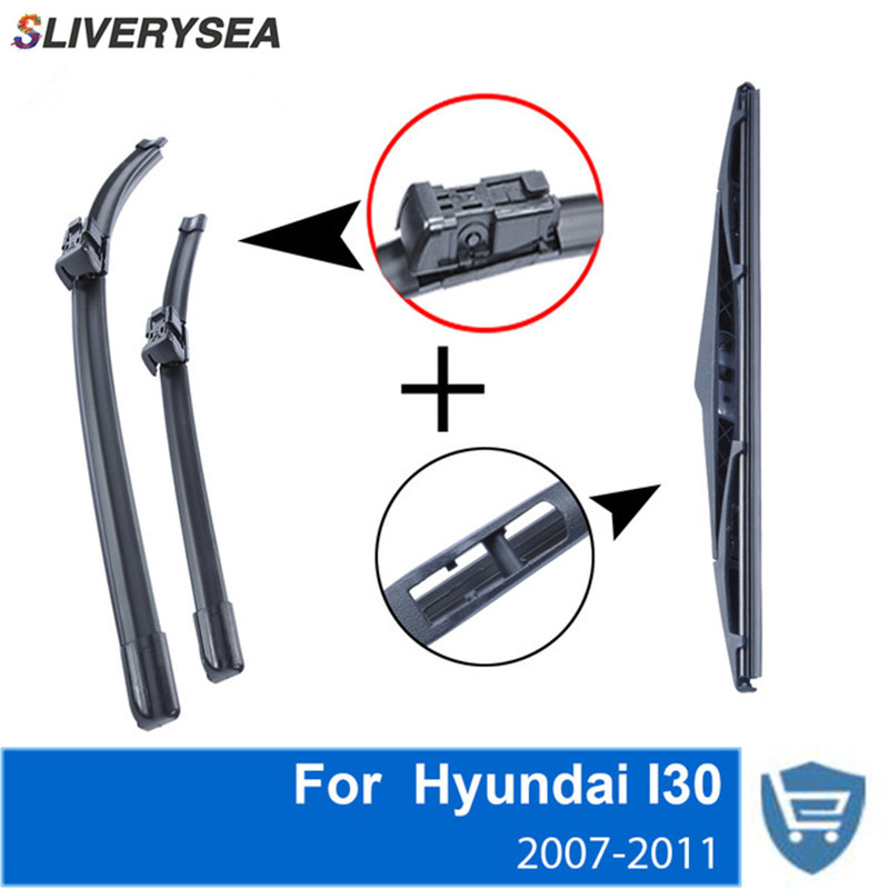 SLIVERYSEA Front and Rear Wiper Blade no Arm For Hyundai I30 2010 2013 High quality Natural Rubber windscreen 24 39 39 18 39 39 in Windscreen Wipers from Automobiles amp Motorcycles