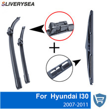 QEEPEI Front and Rear Wiper Blade no Arm For Hyundai I30 2010-2013 High quality Natural Rubber windscreen 24''+18''