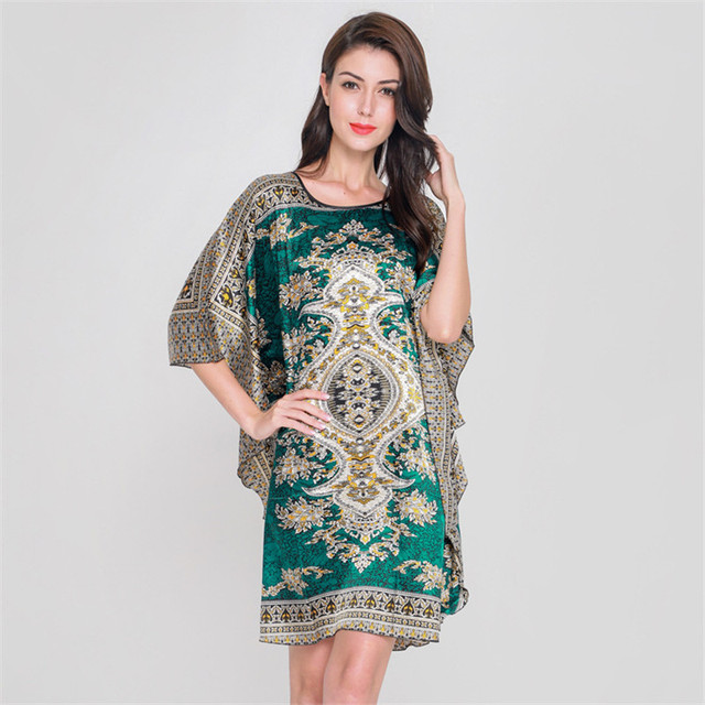 c4cee9412f New Style Chinese Women's Faux Silk Bath Robe Gown Vintage Kimono Kaftan  Gown Summer Casual Nightgown