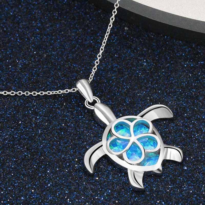 Новая мода животных Свадебные ювелирные изделия женщин синий опал кулоны-черепахи Подвески ожерелье подарок