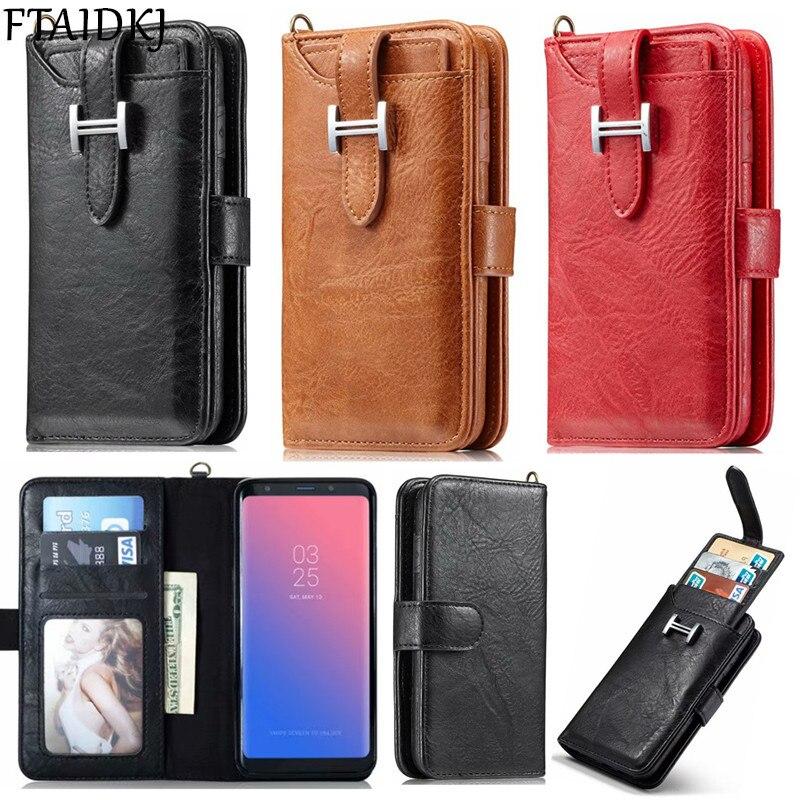 Vintage Multifunction Wallet Leather Flip Card Case For Samsung S6 S7 Edge S8 S9 Plus Note 8 Detachable Magnetic Cover Purse Bag