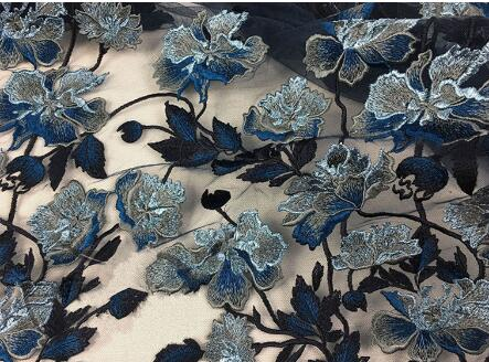 Heavy Embroidered Tulle Lace Fabric Embroidered Lace Fabric With