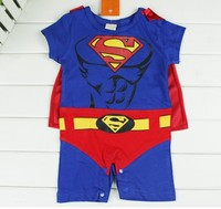 EMS DHL Free Shipping Blue Superman Baby Boys Summer Cotton Rompers One Piece Overall Baby Grow