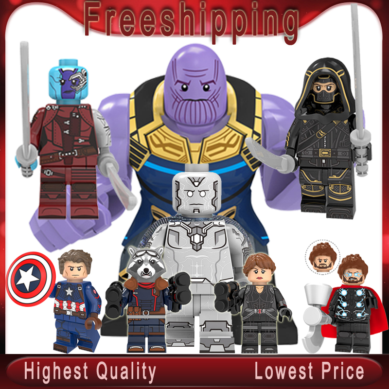 Marvel Super Heroes Avengers 4 Endgame Thanos Nebula Vision Thor Star Lord Hulk Building Block Toys Children Gifts KT1025