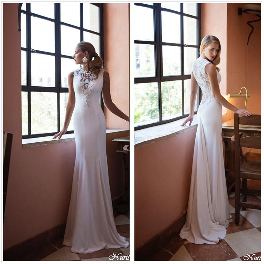 Gorgeous 2018 sexy sleeveless vestido de noiva longo High Neck Lace Appliques Sheath Sheer Back Bridal Gown   bridesmaid     dresses
