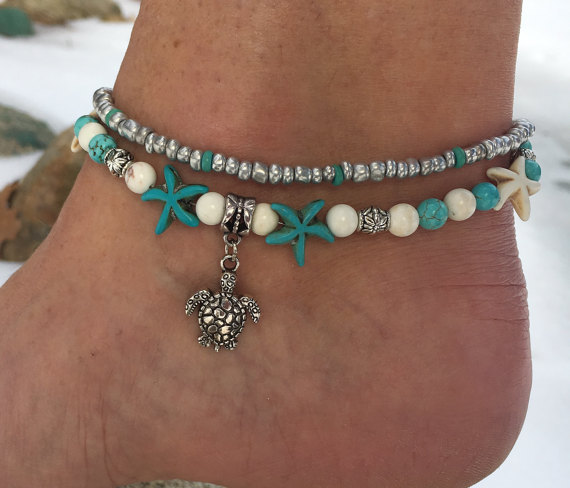 Tortoise Pendant Anklet Beads Starfish Anklets For Women Vintage Barefoot Sandal Statement Bracelet Foot Boho Jewelry