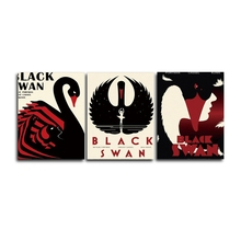 Laeacco Canvas Wall Art Cartoon Black Swan Posters and Prints 3 Panel Decorative Pictures for Living Bedroom Home Decoration