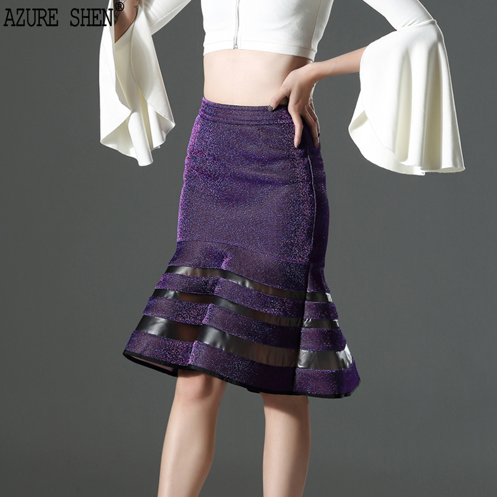 [EWQ] Tailor-made 2018 Fashion Original Design Spring Compound Flash Fabric Split Joint Fish Tail Skirt AZ209