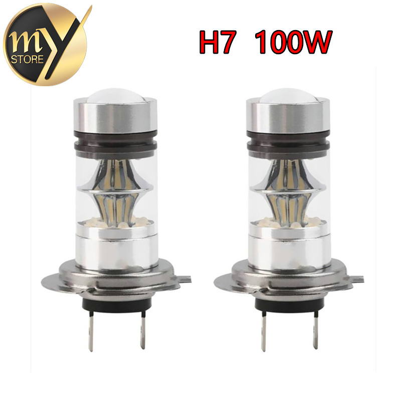 2x 100W H7 <font><b>LED</b></font> Bulb 12V~24V <font><b>360</b></font> Degree Cree Chip For Car Fog Light lighting Sourcing Parking -Not Fit For <font><b>Headlight</b></font> image