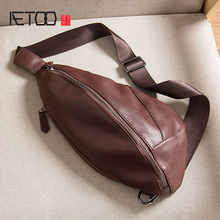 AETOO Leather chest bag, men's stiletto bag, head leather chest bag, cowhide trend shoulder bag bag head bag