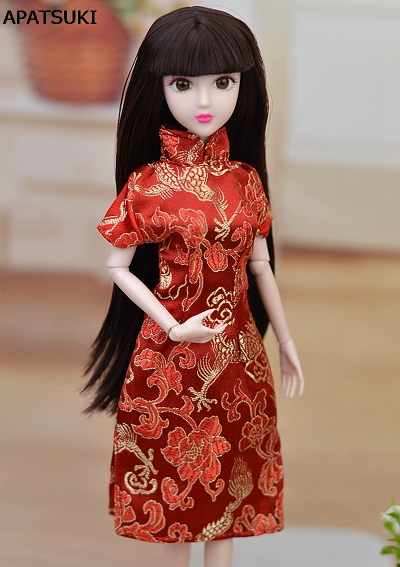 Doll Accessories Red Flower Handmade Dress For Barbie