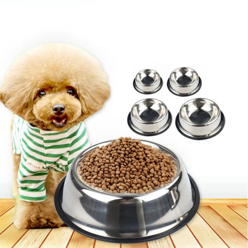 Double Stainless Steel Dog Bowls Paint Pet Cat Bowls Puppy Cats Food Drink Water Feeder Pets Supplies Non-slip Feeding Dishes