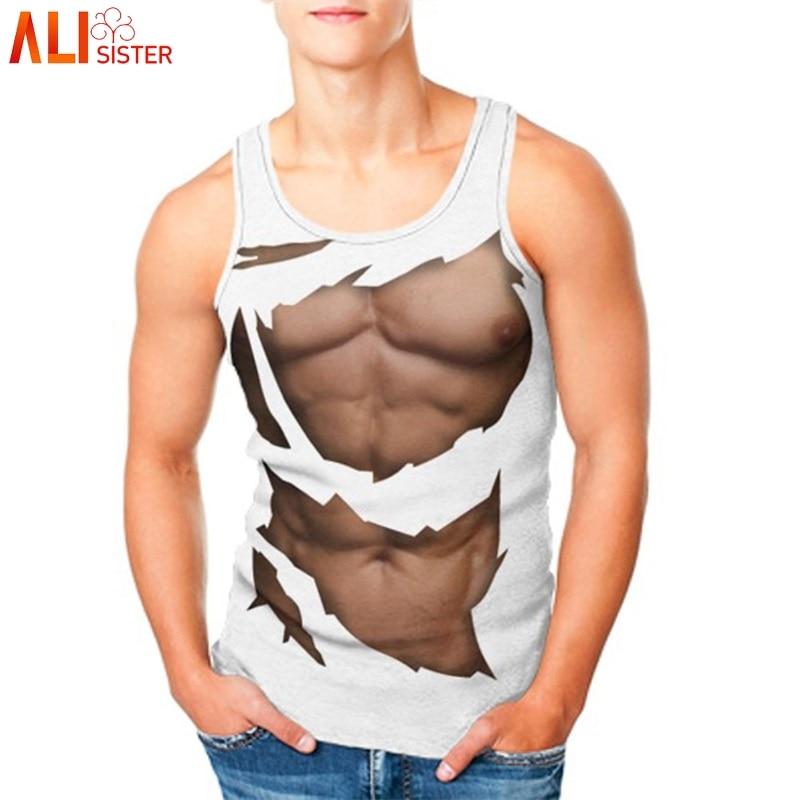 Alisister Drôle Muscle Débardeur D'été Hommes Femmes Beachwear Sans Manches 3d Imprimer Musculation Gilet Tops Sportwear Plus La Taille