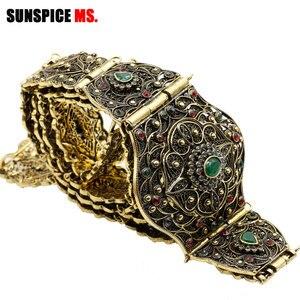 Image 3 - SUNSPICE MS antigo ouro cor metal cinto de cintura para mulher caftan cintura marrocos casamento jóias do corpo comprimento ajustável corrente