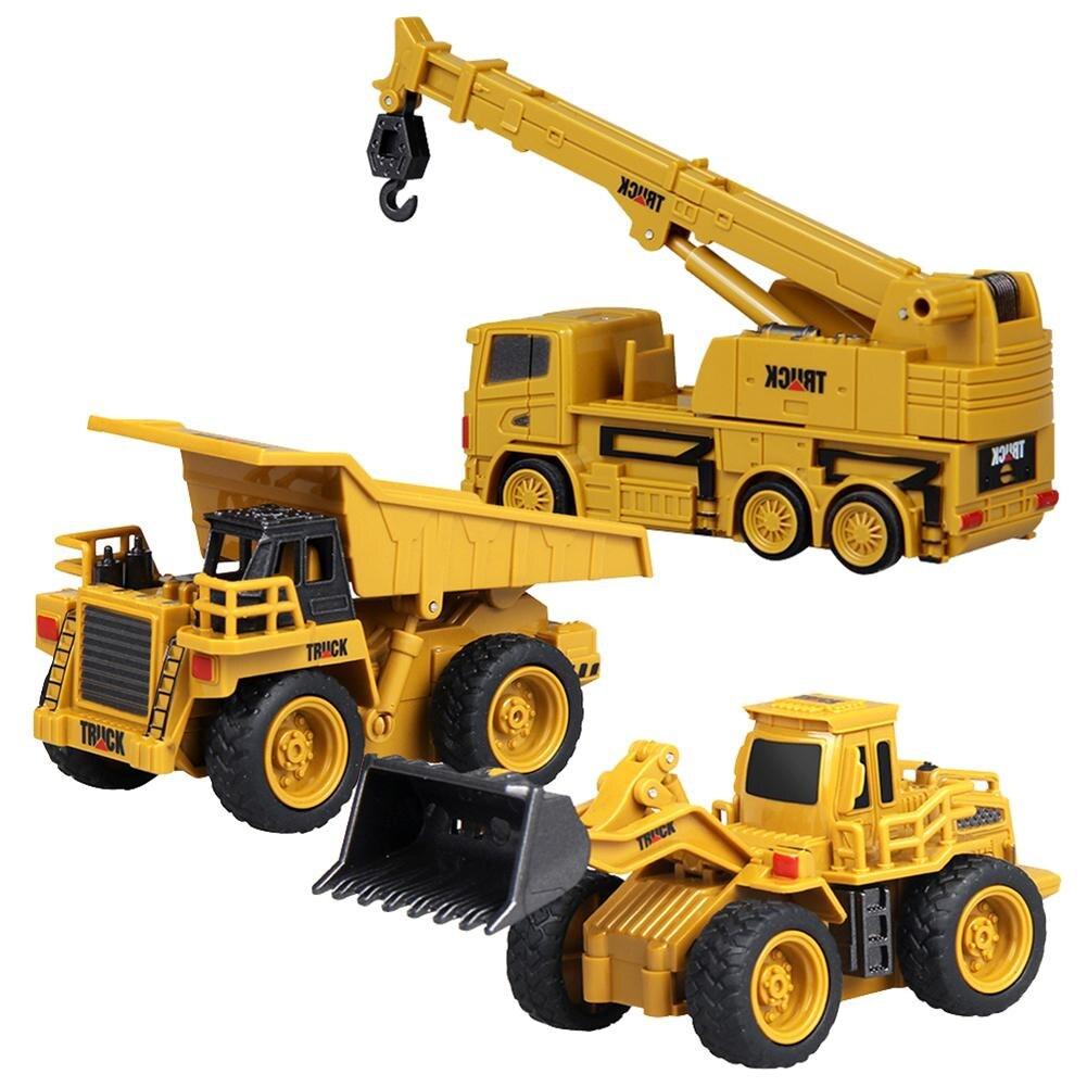 Mini tamaño Rc camión excavadora Control remoto Tractor modelo 4-Canal Bulldozer grúa camión juguetes Control remoto en Color aleatorio