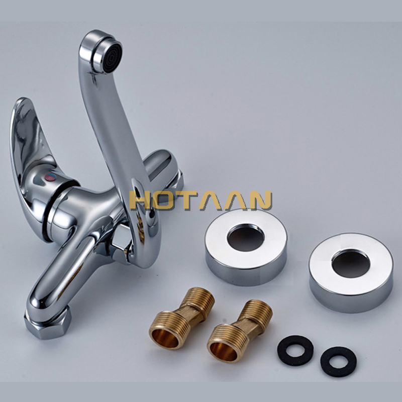 FREE SHIPPING Brass Chrome Taps For Kitchen Sink Kitchen Tap Dual Hole Wall Kitchen Mixer Kitchen Faucet torneira cozinha YT6033 4