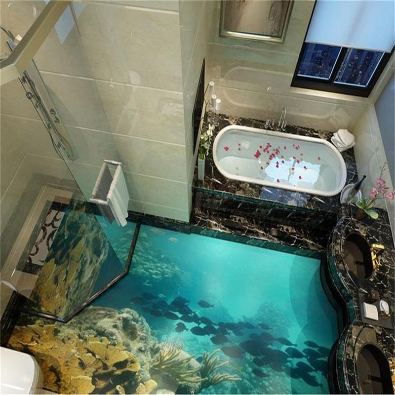 custom mural 3d photo floor wallpaper sea world really 3d photo painting muarl bathroom self-adhesive PVC waterproof wallpaper