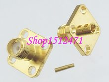 "Connector SMA female jack 4-holes 12.7mm flange solder RG405 0.086"" Cable RF coaxial(China)"