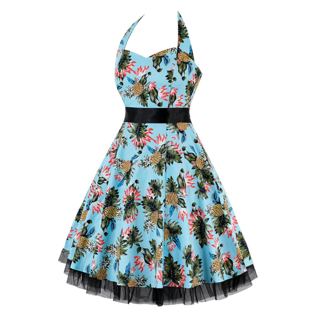 OTEN 4XL Vestido De Festa Women Print Swing Skull Floral Lace Patchwork Polka Dot retro vintage Rockabilly Dress Summer clothes 1