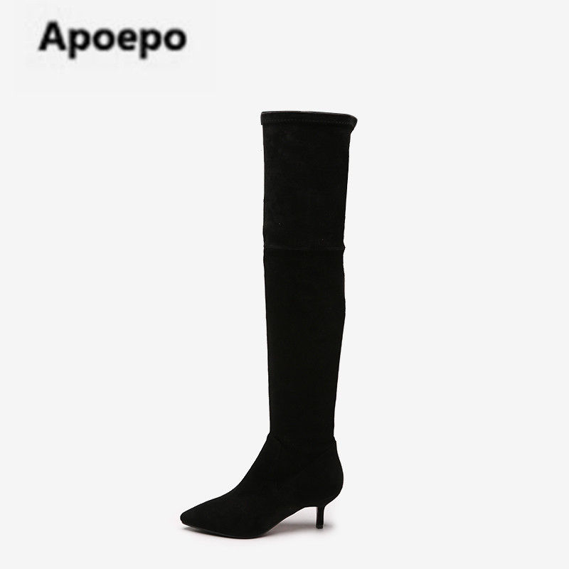 Apoepo brand boots suede leather long boots women black sexy med heels over the knee boo ...
