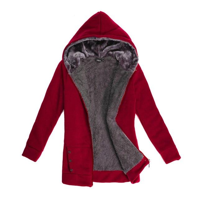 56fcb97317b FANALA Women Hoodies Sweatshirt 2017 Winter Warm Hoodie Zipper Pocket Plush  Full Sleeve sweatshirts ladies Plus Size Hoodies
