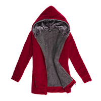 2016 Womens Hoodies Winter Autumn Warm Fleece Cotton Coat Zipper Outerwear Hooded Sweatshirts Suit Casual Long