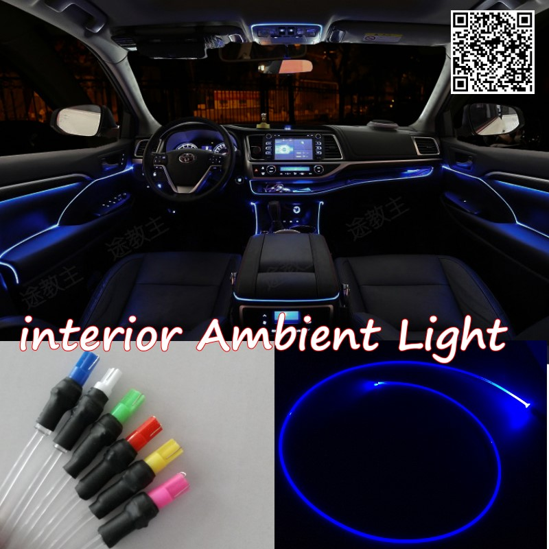 For Audi A2 1999~2005 Car Interior Ambient Light Panel illumination For Car Inside Refit Air Cool Strip Light Optic Fiber Band free shipping car interior refit the inner door handle decorative circle suitable for 2013 2015 audi q3 4pcs