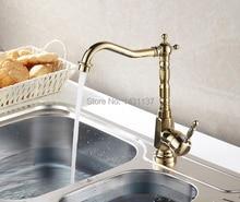 Материал высокого качества латунь золотой отделкой холодная и горячая кухня кран