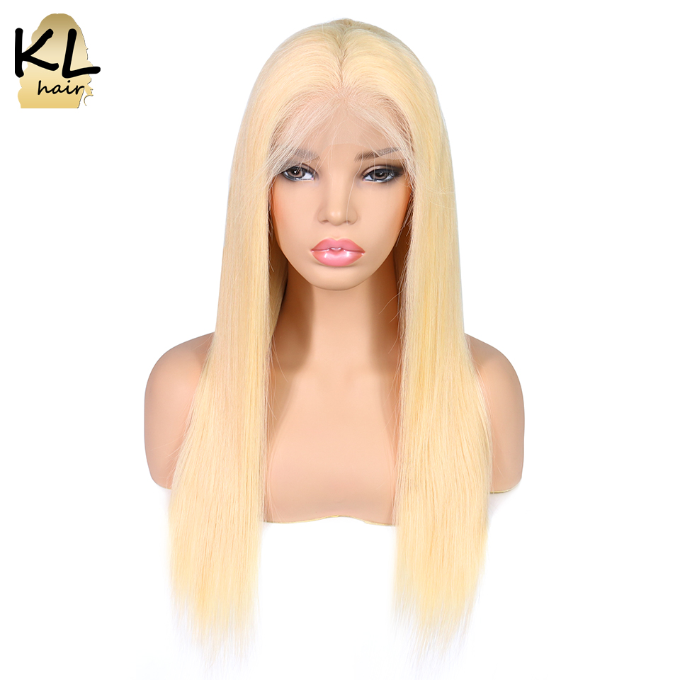 KL Lace Front Human Hair Wigs 613 Color Straight Brazilian Remy Hair Blonde Transparent Lace Wigs