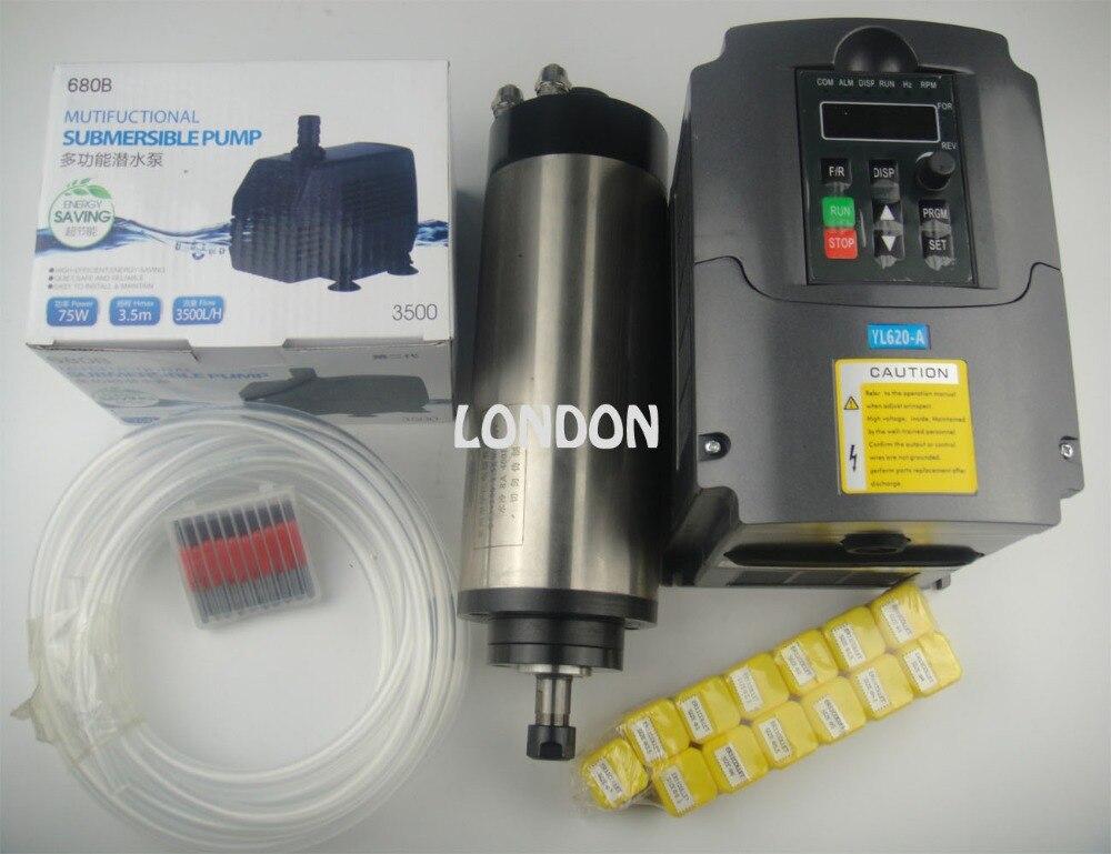 CNC spindle kit ER11 diameter 80mm 220V 1.5KW water cooling spindlemotor+ water pump + 1.5kw inverter+ ER11 + bits er20 diameter 80mm 220v 24000rpm 2 2kw water cooling spindle water pump water pipe spindle support bits
