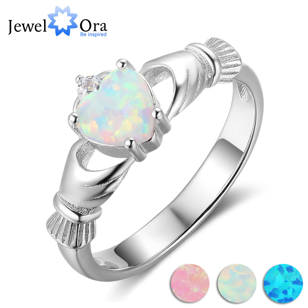 Claddagh Ring Soild 925 Sterling Silver Women's Rings Classic Heart Opal Stone Loyalty Jewelry For Women (JewelOra RI103629) loyalty