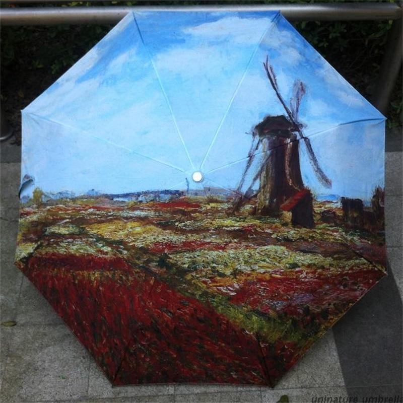 Oil Painting Windmill Umbrella Anti-UV Personalized Rain Acstract Art Three Folding Women Ladies Manual Umbrellas
