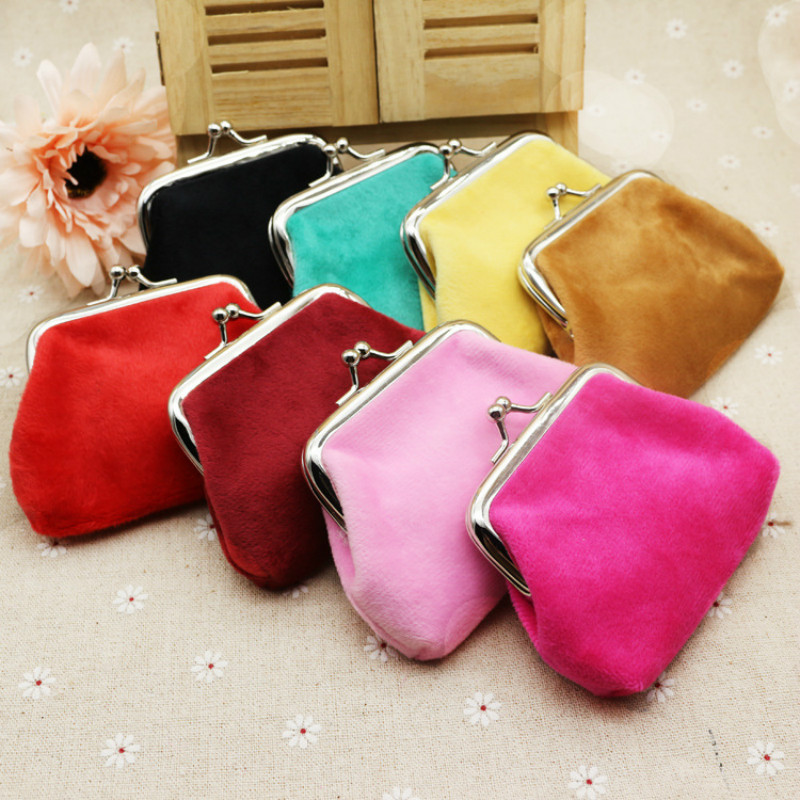 PACGOTH Autumn And Winter Candy Color Plush Corduroy Coin Purse Students Children Small Gifts Coin Cash Money Wallets&Holder 1PC