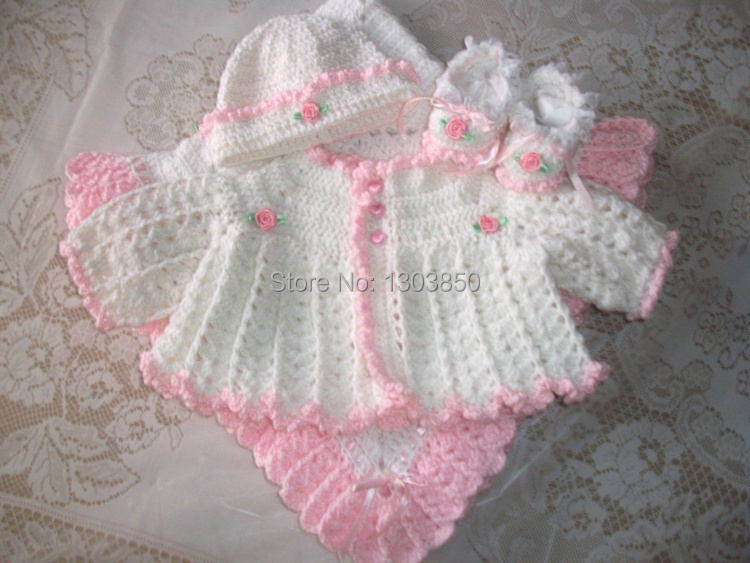 Pink Crochet Baby Girl Sweater Set Layette Perfect For Baby Shower
