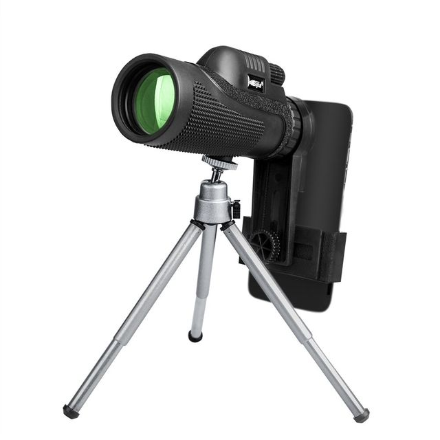 BIJIA 12x50 BAK4 Kính Thiên Văn Một Mắt HD Mini Một Mắt Ngoài Trời Cắm Trại Đi Săn Ống Nhòm Với Kẹp Điện Thoại Chân Máy