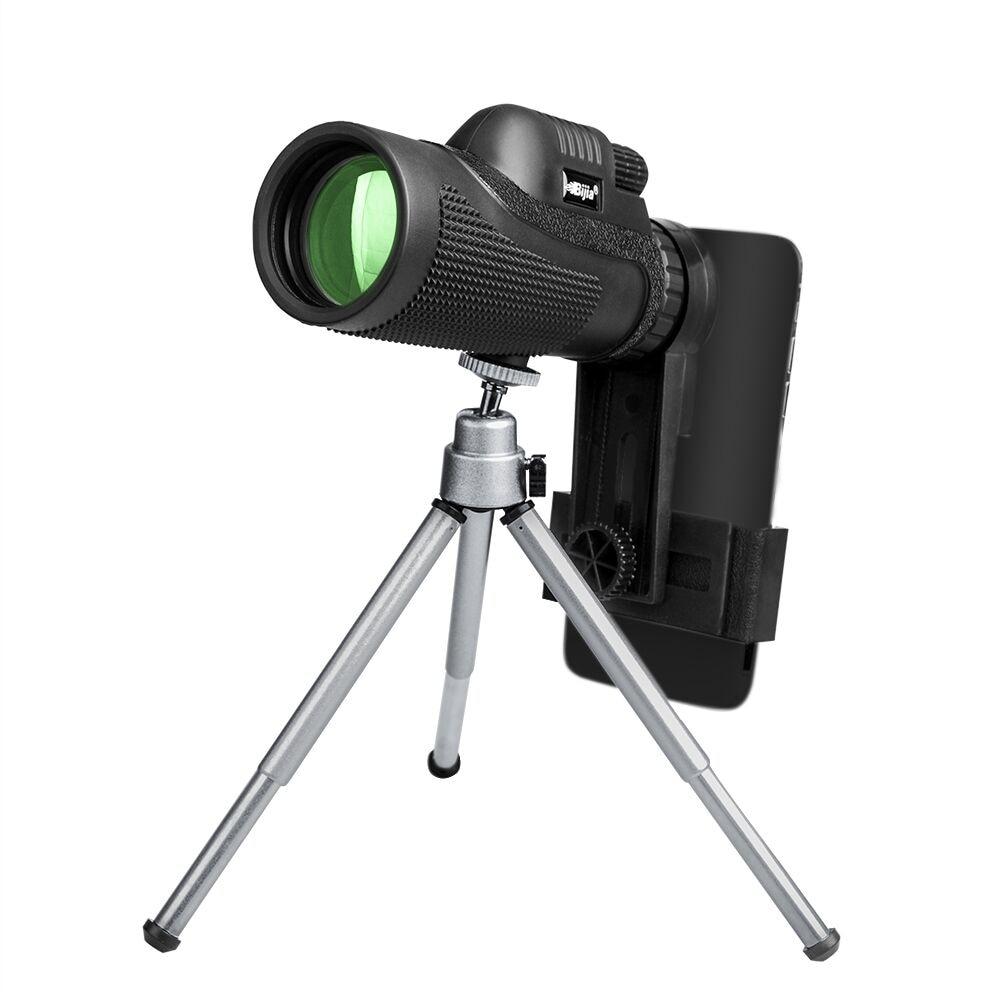 BIJIA 12x50 BAK4 Monocular Telescope HD Mini Outdoor Hunting Camping Scopes With Phone Clip Tripod