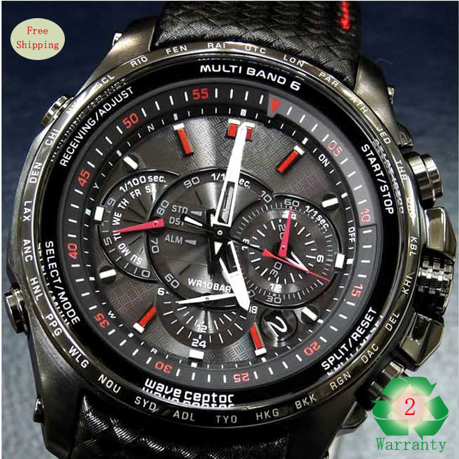 Men's Chronograph Watch Black Dial Leather Strap Sport ...